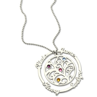 Decent Birthstone Family Tree Necklace with Names for Mother in Silver