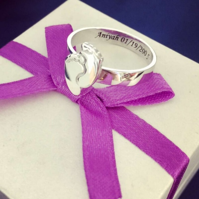 Sterling Silver Everlasting Engraved Baby Feet Ring For Mom