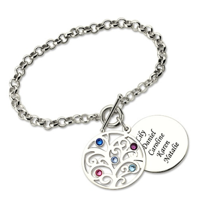 Sterling Silver Gorgeous Engraved Family Tree with Birthstone Bracelet