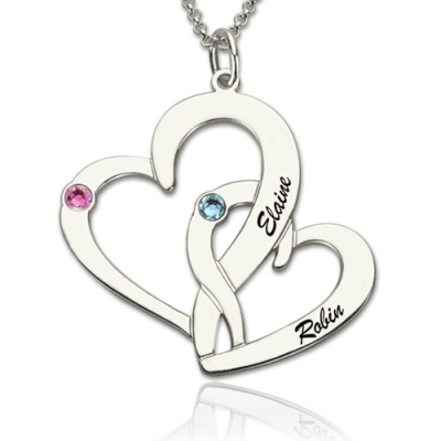 Aesthetic Interlocking Two-Heart Names & Birthstones Necklace