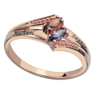 Rose Gold Cute Engraved Double Birthstones Name Ring