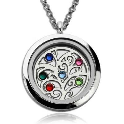 Appealing Stainless Steel Family Tree With Birthstones Floating Locket