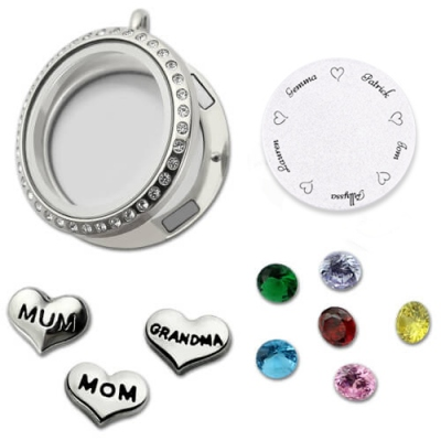 Meaningful Customizable Engraved For Mom or Grandma Floating Charm Locket