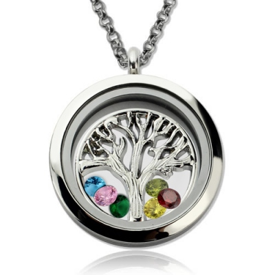 Stylish Stainless Steel for Mothers Family Tree Floating Locket