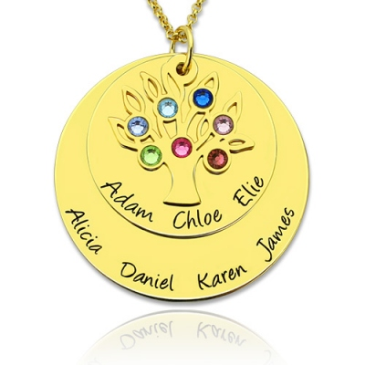 Gold Refined Personalized Birthstones Disc Family Tree Necklace