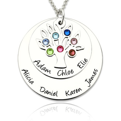 Typical Personalized Silver Birthstones Disc Family Tree Name Necklace