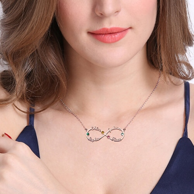 Rose Gold Graceful Birthstones Infinity Four-Name Necklace