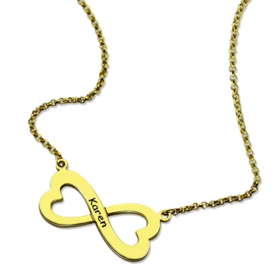 Gold Splendid Personalized Infinity Heart-Shaped Name Necklace