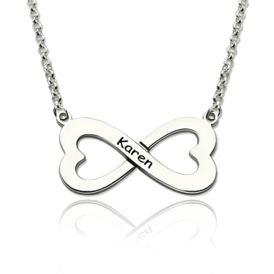 Sterling Silver Everlasting Infinity Heart-Shaped Name Necklace