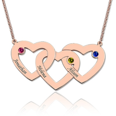 Rose Gold Glorious 3 Intertwined Birthstones Hearts Name Necklace