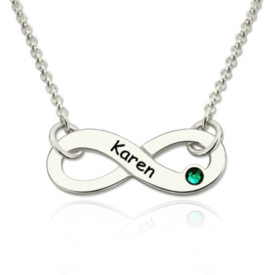 Silver Exquisite Personalized Birthstone Infinity Name Necklace