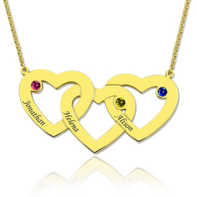 Gold Meritorious 3 Hearts & Birthstones Intertwined Name Necklace