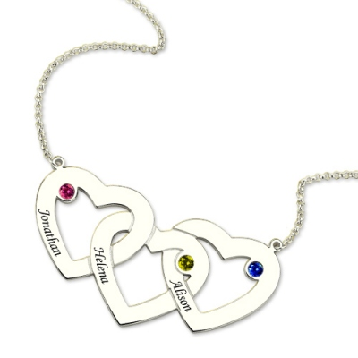 Sterling Silver Glorious 3 Hearts Birthstones  Intertwined Name Necklace
