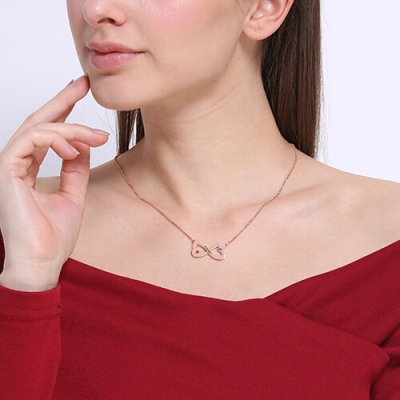 Rose Gold Brilliant Birthstone Engraved Infinity Heart Name Necklace