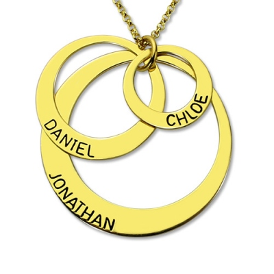 18K Gold Plated Exclusive Engraved Three-Disc Name Necklace for Mother