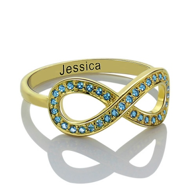 18K Gold Plated Enigmatical Full Birthstone Infinity Promise Name Ring Gift