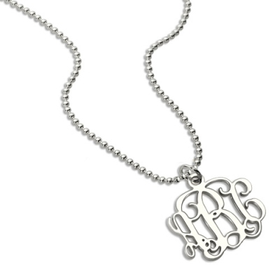 """Sterling Silver Charming Personalized 0.72"""" Small Monogram Necklace"""