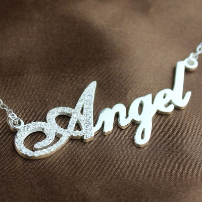 Sterling Silver Graceful Initial Full Birthstone Script Name Necklace