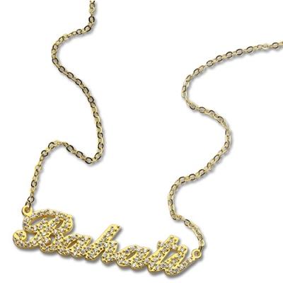 18K Gold Custom Amazing Full Birthstones Carrie Name Necklace