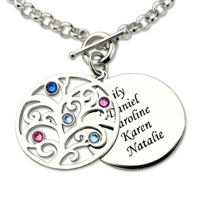 Graceful Family Tree Birthstone Birthday Presents for Mom Bracelet