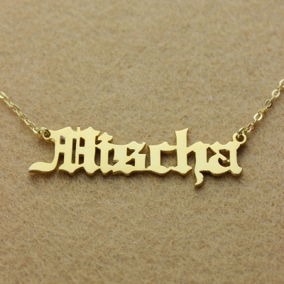 Creative 18k Gold Plated Old English Name Necklace