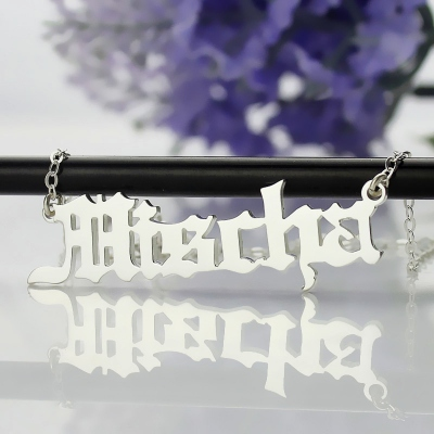 Special Sterling Silver Custom Old English Name Necklace