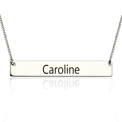 Sterling Silver Wonderful Engraved Graduation Bar Necklace