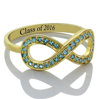 Special Gold Birthstones Graduation Jewelry Infinity Ring