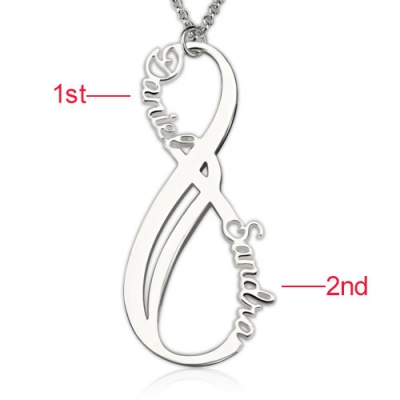 Perfect Sterling Silver Custom Vertical Infinity Names Necklace