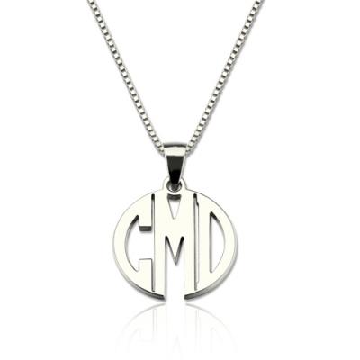 Elegant Sterling Silver Custom XS Block Monogram Necklace
