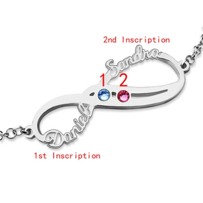 Meaningful Sterling Silver Birthstones Infinity Names Bracelet