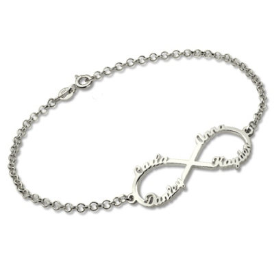 Ideal Sterling Silver Personalized Infinity Four Names Bracelet