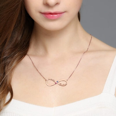 Rose Gold Luxurious Personalized 2 Names Birthstones Infinity Necklace
