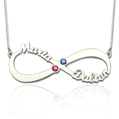 Sterling Silver Dazzling 2 Names & Birthstones Infinity Love Necklace