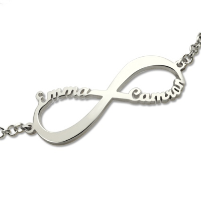 Sterling Silver Meritorious Personalized 2 Names Infinity Symbol Bracelet
