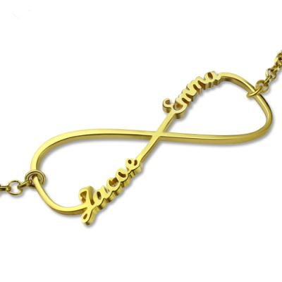 Gold Plated Silver Glamorous Double Name Infinity Bracelet