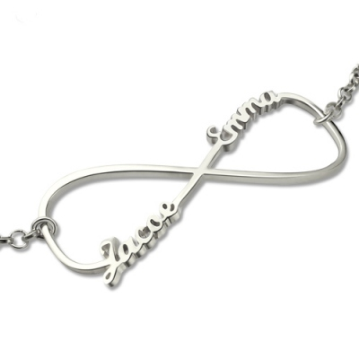 Sterling Silver Gracious Double Names Infinity Bracelet