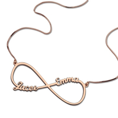 Rose Gold Sparkling Custom Two Names Infinity Necklace