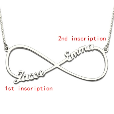 Sterling Silver Delicate Two Names Infinity Necklace