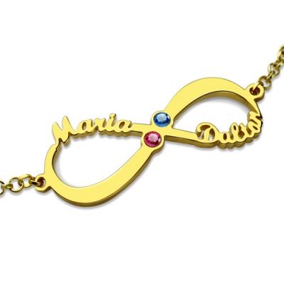 Gold Glistening Personalized 2 Names & Birthstones Infinity Bracelet
