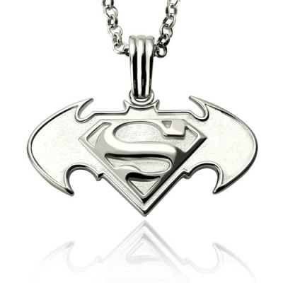 Sterling Silver Alluring Custom Batman vs Superman Logo Necklace