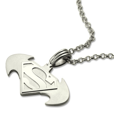 Sterling Silver Lively Personalized Batman Superman Dad's Necklace