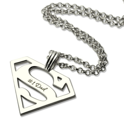 Delicate Sterling Silver Personalized Gift for Men: Superman Necklace