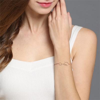 Unique Personalized Rose Gold Infinity 2 Names Bracelet