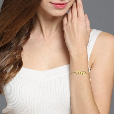 Excellent Gold Plated Silver Personalized Infinity 2 Names Bracelet