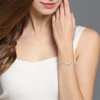 Sterling Silver Fine Personalized Infinity 2 Names Bracelet