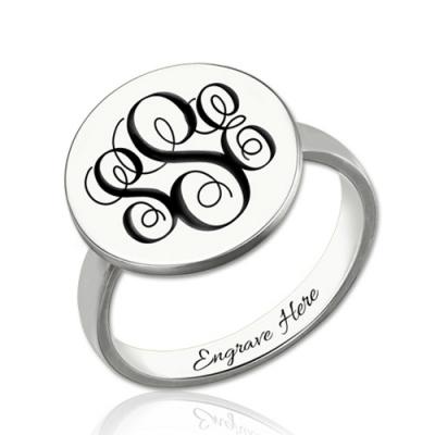 Sterling Silver Fascinating Disc Engraved Monogram Signet Ring