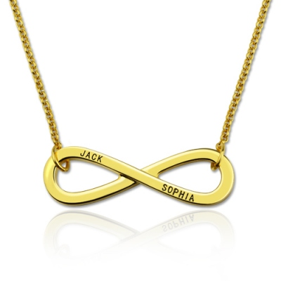 Gold Plated Silver Meritorious Engraved Infinity Symbol Names Necklace