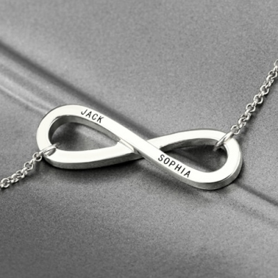 Sterling Silver Stunning 2 Names Engraved Infinity Symbol Necklace