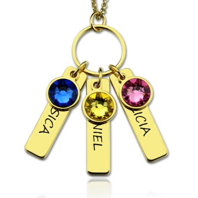 Gold Meaningful Birthstones Engraved with 3 Kids name Bar  Necklace for Mother
